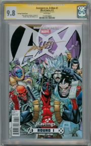 Avengers Vs. X-Men #1 Hastings Deadpool Variant CGC 9.8 Signature Series Signed Rob Liefeld Marvel comic book